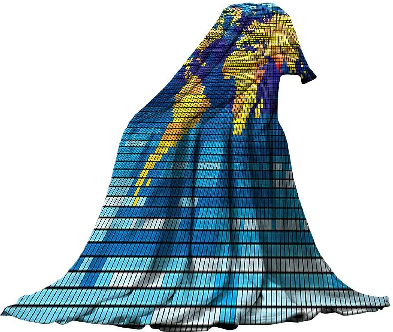 QINYANHome Soft Travel Blanket(90 x70 ) Summer Quilt Comforter Digital Geometric Squared Modern World Print Global Universe Artwork Image Earth Yellow bluee Sky bluee.