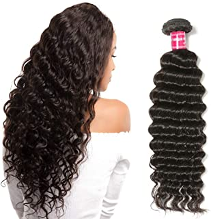YIROO 20 inches Deep Wave Brazilian Virgin Hair One Bundle Unprocessed 100% Human Hair Extensions Natural Color (20inch, 1 Bundle)