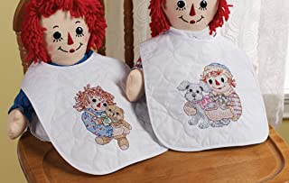 Bucilla Baby Stamped Cross Stitch Quilted Bib Kit, 45589 Sleepy Time (Set of 2)