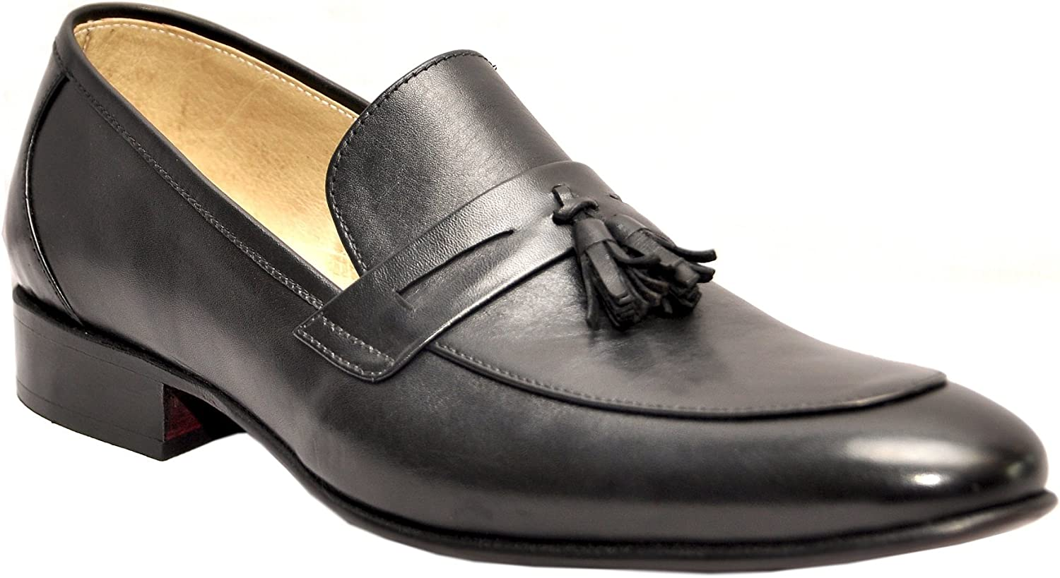 Johny Weber Handmade Black Leather with Tassels Monk Dress shoes shoes with Goodyear Welted Construction
