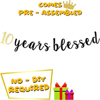 LINGTEER 10 Years Blessed Cursive Script Bunting Banner Ten Years Old Happy 10th Birthday Wedding Anniversary Party Decoration