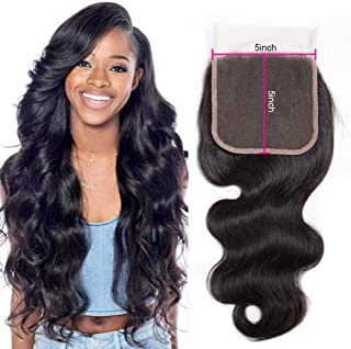 Star Show Brazilian Hair Body Wave Closure 5x5 Inch Lace Closure 100% Human Hair Closure One Piece For Sale Natural Color(10 inch 5x5 Free Part Closure)