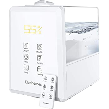 Elechomes UC5501 Ultrasonic Humidifier for Large Room Bedroom Home, 6L Vaporizer Warm and Cool Mist with Remote, Customized Humidity, Sleep Mode, LED