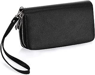 Double Zipper Wristlet Wallet Long Clutch Purse Cellphone Wallet for Women Ladies and Girls (Litchi Stria)
