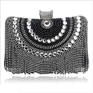 DIEBELLAU Women's Fringe Dinner Female Bag High-end Banquet Bag Evening Dress Bag (Color : Black, Size : XS)