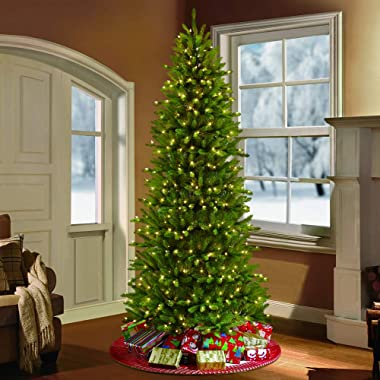 Puleo International 9 Foot Pre-Lit Slim Fraser Fir Artificial Christmas Tree with 800 UL Listed Clear Lights, Green