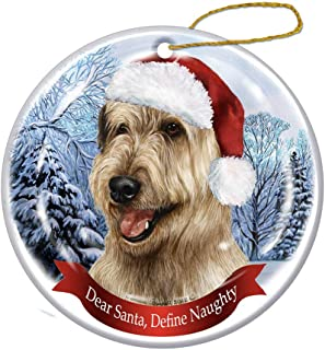 Best Holiday Pet Gifts Irish Wolfhound, Wheaten Santa Hat Dog Porcelain Ornament Review