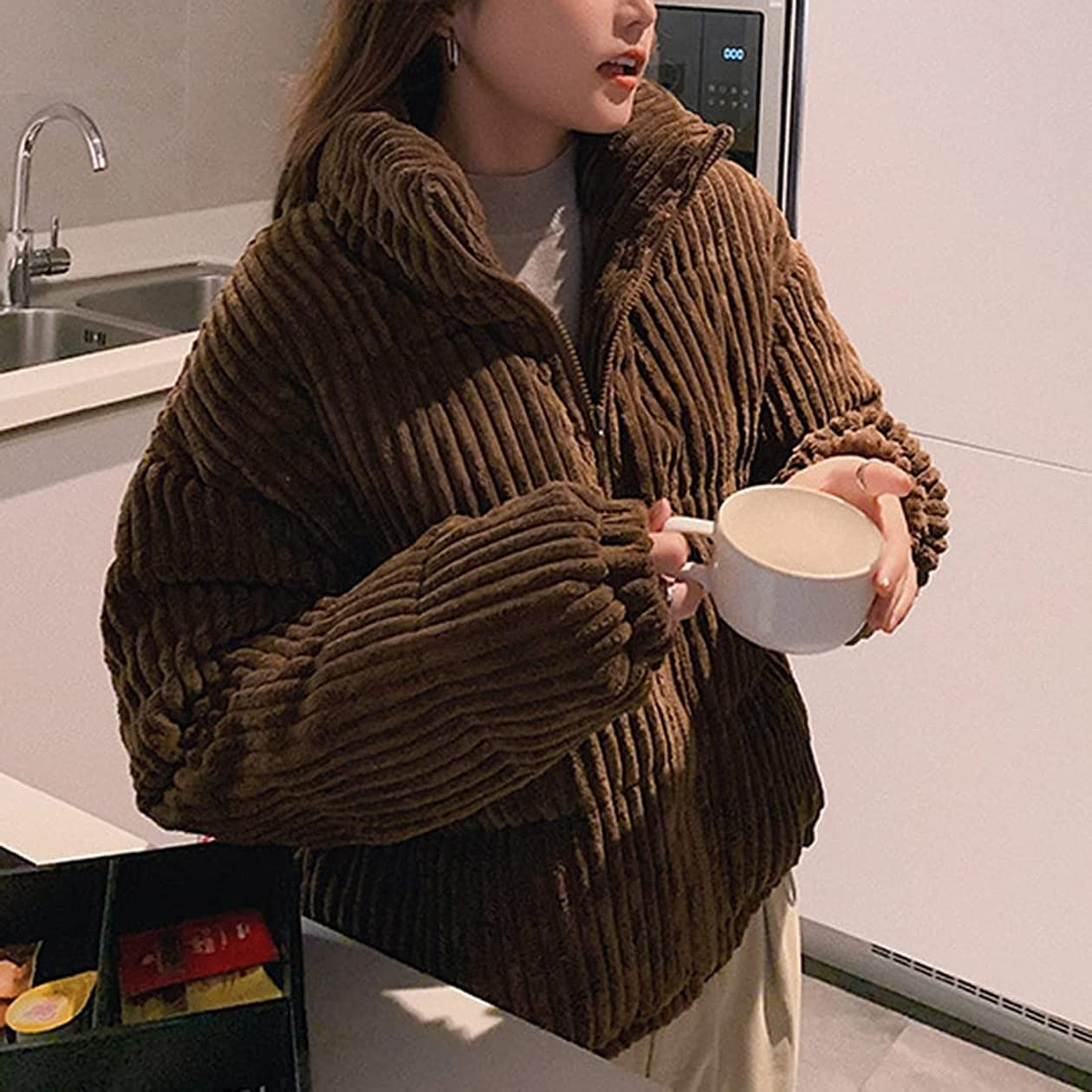 Corduroy Puffer Jacket for Women Stand Collar Casual Full Zip Thicken Cropped Down Outwear Coat