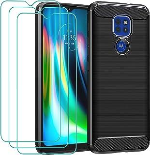 ivoler Fodral till Motorola Moto E7 Plus/Moto G9/Moto G9 Play + 3-pack skärmskydd i härdat glas, svart kolfiber stötdämpan...