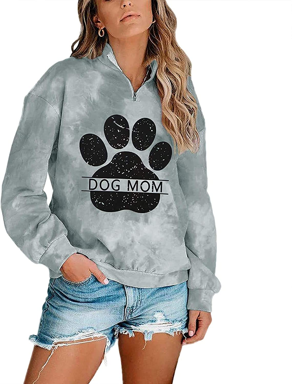 Dog Mom Tie-dye Sweatshirts Women Funny Dog Paw Graphic Shirts Casual Pullover Long Sleeve Top Blouse