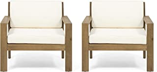 Great Deal Furniture Miranda Outdoor Acacia Wood Club Chairs with Cushions (Set of 2), Brushed Light Brown and Cream
