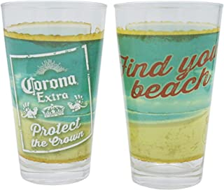 Corona Two Piece Set 16 oz. Find Your Beach Boxed Pint Glasses