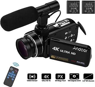 كاميرا فيديو 4K، كاميرا الفيديو الرقمية Andoer Ultra HD مع عدسة عريضة الزاوية 0.45X مع ميكروفون ماكرو ستيريو على الكاميرا حامل الحذاء الساخن 3.0 بوصة من شاشة اي بي اس المتفرحة المضادة للاهتزاز