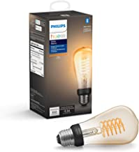 Philips Hue White Dimmable Filament ST19 LED Smart Vintage Edison Bulb, Bluetooth & Hub Compatible (Hue Hub Optional), Voi...