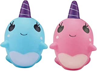 Ouflow 2PCS Squishies Slow Rising Narwhal Kawaii Unicorn Soft Squeeze Cream Scented Toy