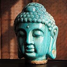 PPCP Ceramic Color Buddha Head, Buddha Crafts, Buddhist Statue, Buddhism Decoration, Gifts, Figurine~