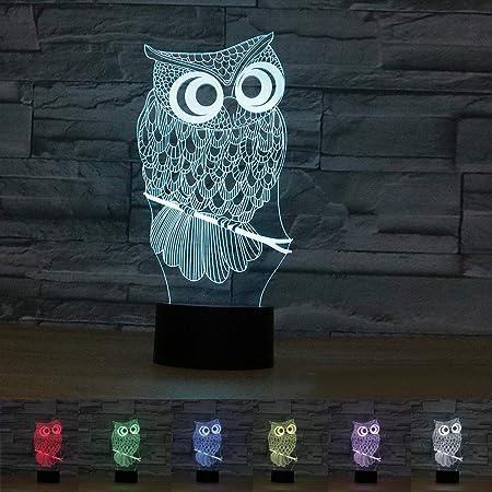Coolzon 3D LED Illusion Lampe de Chevet Veilleuse Enfants Tactile 7 Couleurs Changeantes Chouette Nuit Lumière Cadeau de Noël pour Enfants Coffret Cadeau Cemme