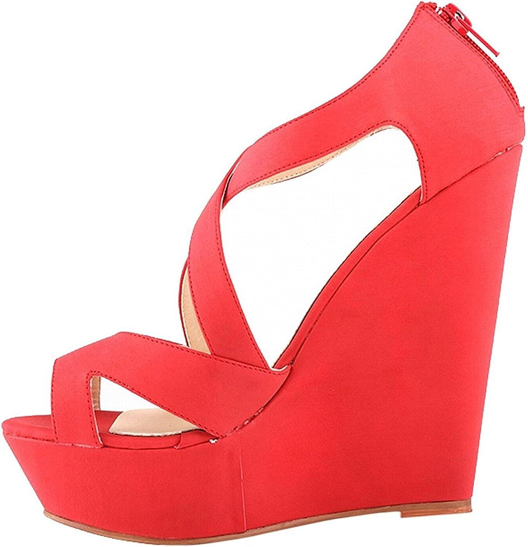 Verescha Womens Faux Suede Platform High Heels Sandals Peep Toe Wedges Wedding shoes Red7.5 B(M) US
