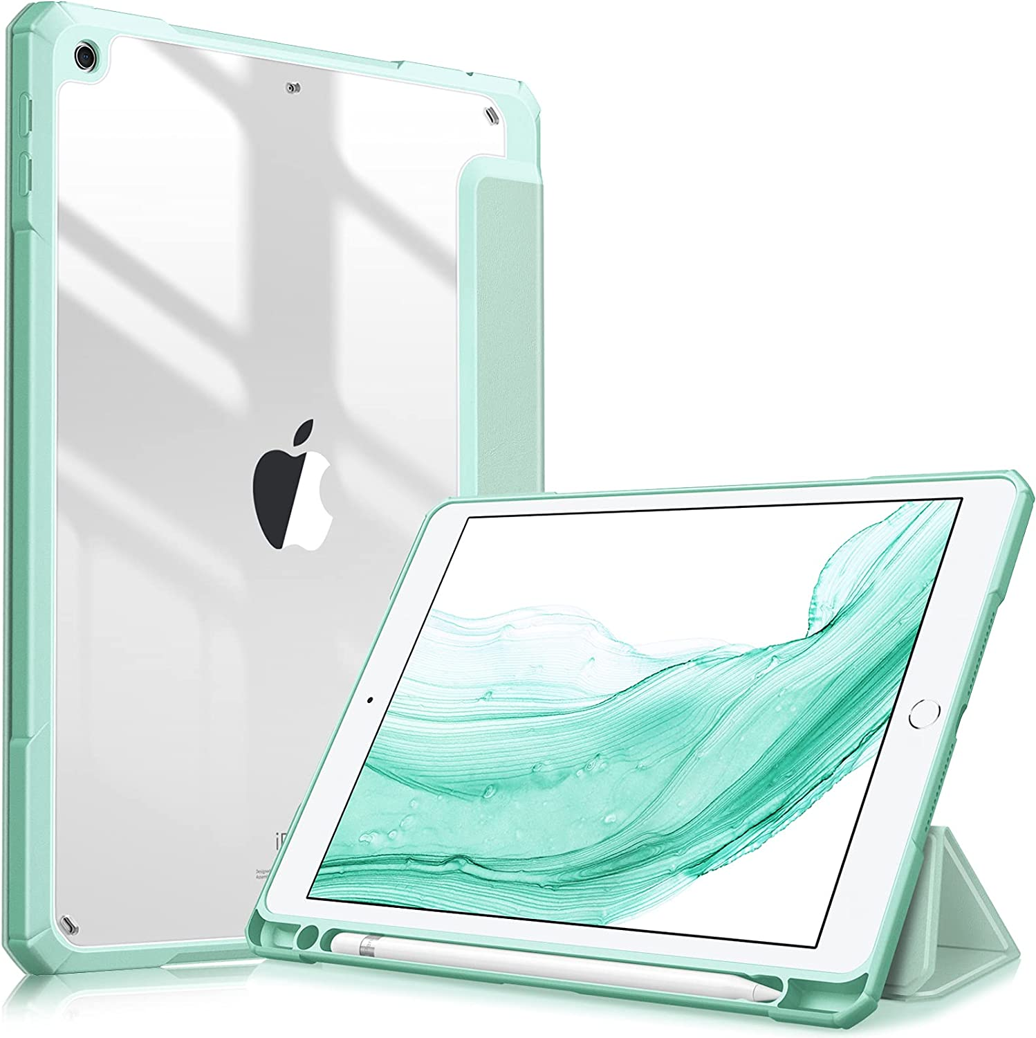 Fintie Hybrid Slim Case for iPad 6th Generation (2018) / 5th Gen (2017) 9.7 Inch - [Built-in Pencil Holder] Shockproof Cover with Clear Transparent Back Shell, Auto Wake/Sleep, Green