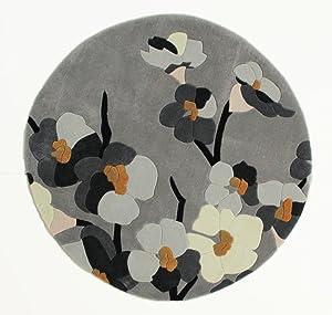 Lord of Rugs Alfombra de diseño Moderno Floral Gruesa de Calidad Suave Tallada a Mano en Rojo y Gris Rectangular y Redonda en 4 tamaños, Grey/Ochre, 135x135cm (4'5''x4'5'') Round
