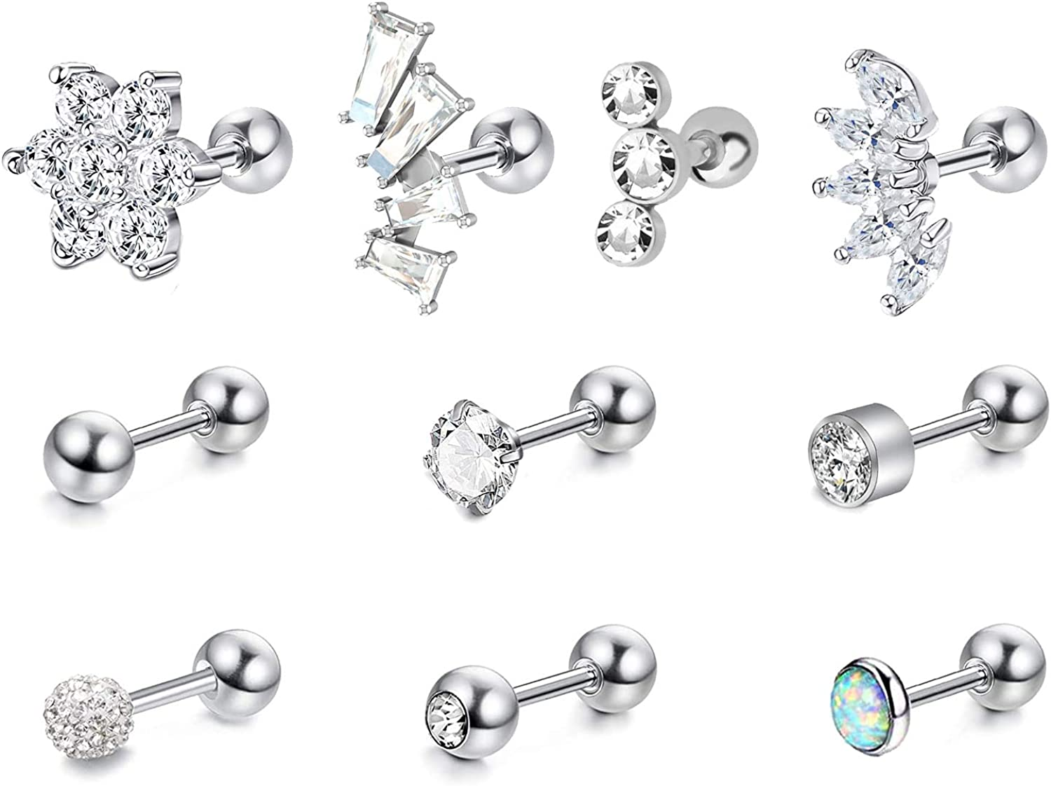 HQNUO 16G Stainless Steel Inlay Cubic Zirconia Stud Earrings Moon Shape Cartiliage Earring Tragus Helix Piercing