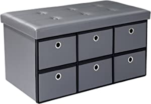 Bonlife Poufs Pliable Repose-Pieds rectangulaire avec 6 Tiroirs, Couvercle Amovible, Gris Faux Cuir, 76x38x38cm
