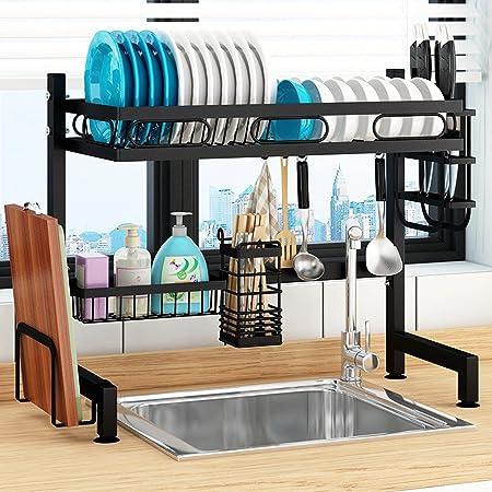 シンク上ラック食器乾燥ラック 食器水切り 食器収納 皿乾燥水切り棚 キッチンラック 収納棚 62cm (ブラック)
