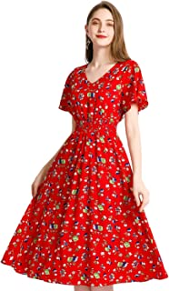 Women's Plus Floral Print Flowy Casual Party Dress Bohemian Beach Dress Chiffon Maxi Sun Dress