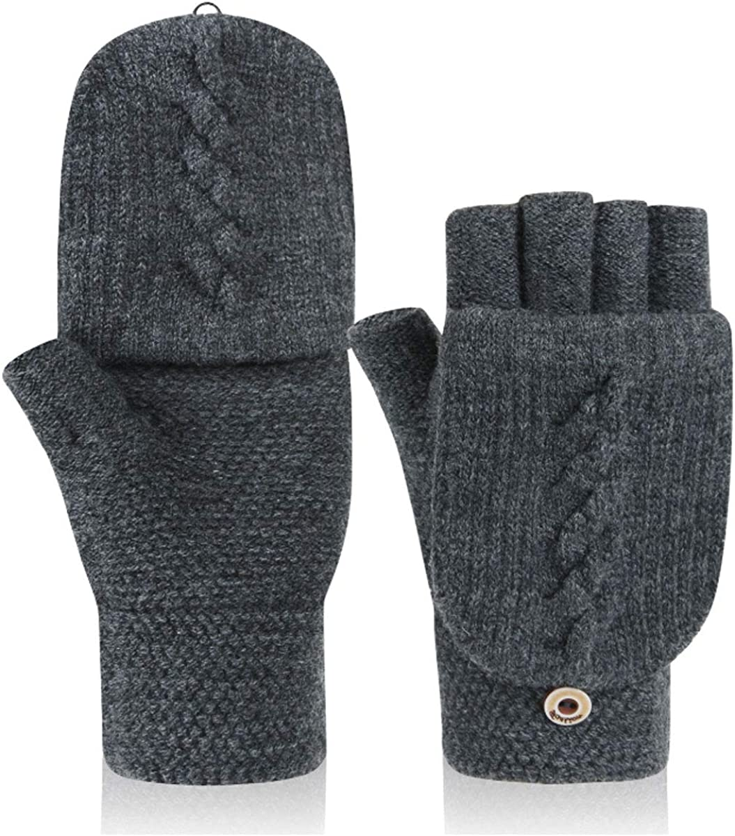 Men Cold Weather Gloves Fingerless Gloves Mittens Women Thermal Insulation Mittens Half Finger Convertible Mittens Texting Smartphone Gloves Wool Driving Cycling Ski Snow Gloves Mitts Hand Warmer