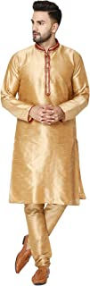 Men's Tunic Art Silk Kurta Pajama Set Indian Ethnic Dress