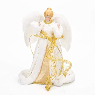 Ivory and Gold Angel With Feather Wings 12 Inch Plush Holiday Tree Topper