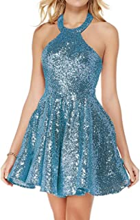 Jonlyc A Line Halter Backless Short Sequin Homecoming Dresses
