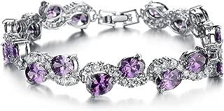 Gorgeous Platinum Plated Purple Cubic Zirconia CZ Stone Women Tennis Bracelet 7.67