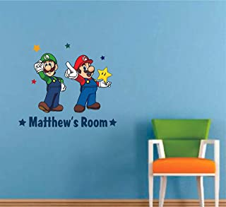Personalised Any Name Mario Design Wall Decal 3D Sticker Vinyl Bedroom 130