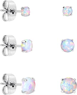 Body Candy Stainless Steel Synthetic Opal Post Stud Earring Pack of 3