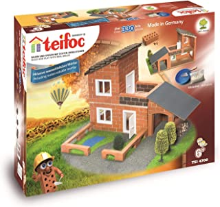 Teifoc Villa with Garage Construction Set and Educational Toy Intro to Engineering and STEM Learning, brown, 4700, TEI 4700