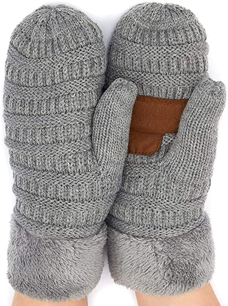 Funky Junque Exclusives Mittens Womens Warm Lined Multi Solid Buffalo Check Soft Knit Gloves