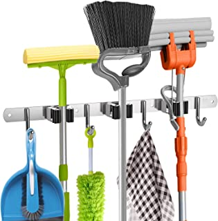 """Broom Holder Wall Mount - 16"""" Wall Stud Installation Broom Mop Holder Wall Mounted - Broom Hanger with 3 Unit Clamps and 4 Utility Hooks for Storage, Closet - Broom Organizer Wall Mount - Broom Rack"""