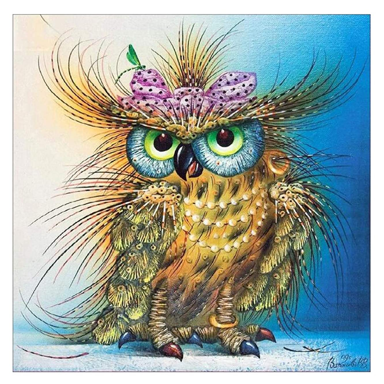 DIY 5D Diamond Painting Kits Full Drill Colorful Owl Diamond Paint by Number Kits Crafts & Sewing Cross Stitch for Adults Kids,Diamond Rhinestone Crystal Painting Kit Art Craft for Home Sticker