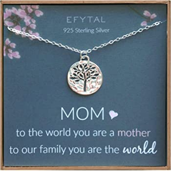 EFYTAL Mom Gifts, Sterling Silver Tree of Life Necklace For Her, Birthday Gifts for Mom, Mother's Day Gift Ideas
