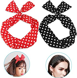 Flying Rabbit 2pcs Hair Band Polka Dots Rockabilly Wire Bendable Bunny Ear Tying Bow Striped Headband Hair Accessories Gift(Polka Dots)