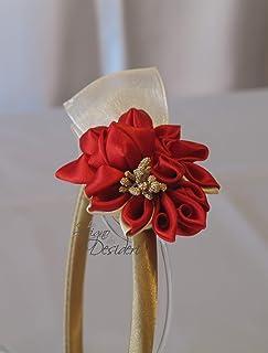 Fascinator oro con fiori kanzashi rossi