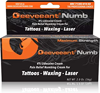 Deeveeant Lidocaine Numbing Cream Anesthetic (2oz/56g) Topical Pain Relief - Tattoos, Laser, Waxing, Microblading, Microneedling US FDA