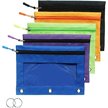 Zippered Binder Pencil Pouch with Zipper Pulls, Pencil Case with 3 Rivet Enforced Holes, 5 Pack 5 Colors (5 Pack)