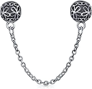 Double Daisy Safety Chain Floral Bouquet Clasp Stopper Bead Charm For Women 925 Sterling Silver Fits European Bracelet
