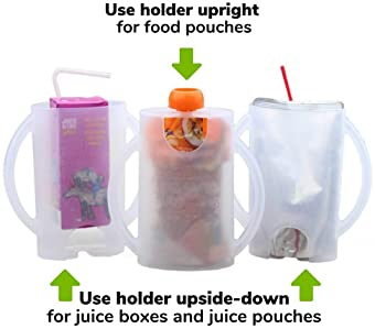 The Flipping Holder, a Mess-Free Food Pouch and Juice Box Holder for Babies, Toddlers, and Kids