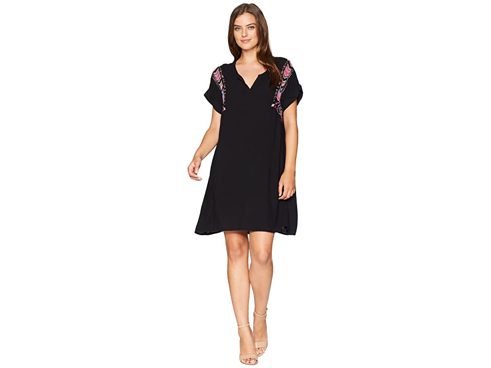 Mod-o-doc Summertime Shirting Pullover Notch Front Dress with Embroidery (Black) Women