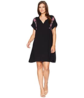 Summertime Shirting Pullover Notch Front Dress with Embroidery