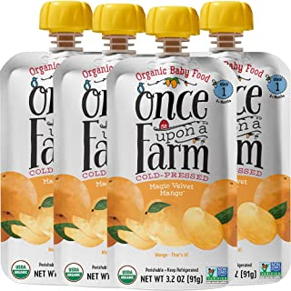 Once Upon a Farm Organic Stage 1 Magic Velvet Mango | Baby Food Pouch | Cold Pressed | Refrigerated | For 5 Months & Up | Pack of 16