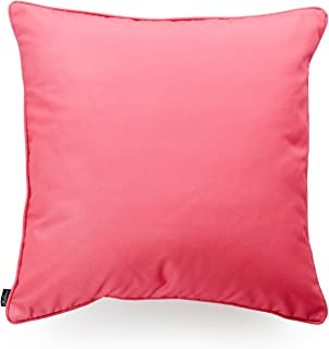 Hofdeco Indoor Outdoor Cushion Cover ONLY, Water Resistant for Patio Lounge Sofa, Hot Pink White Solid, 45cmx45cm